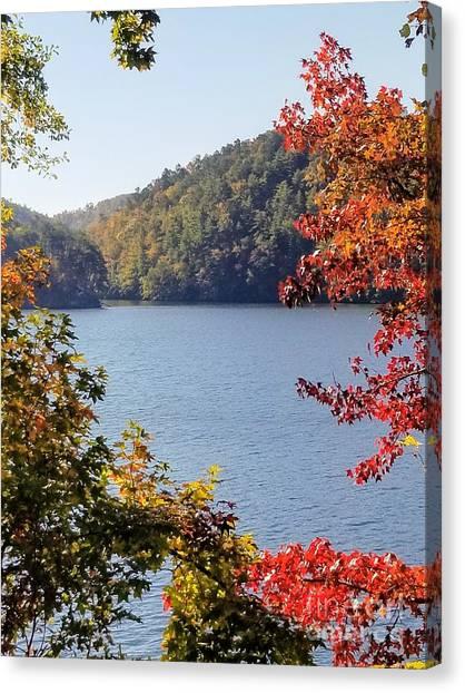 Canvas Print featuring the photograph Autumn On The Lake by Rachel Hannah
