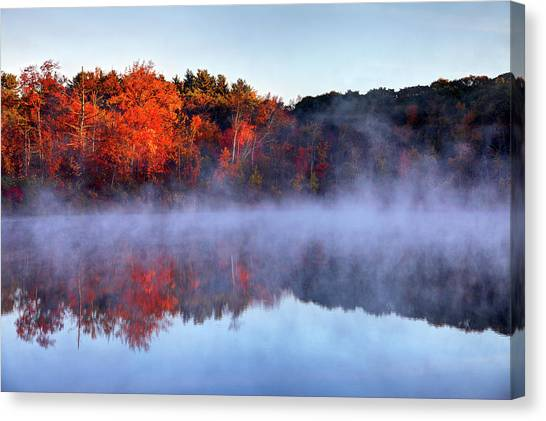 Autumn On Turtle Pond In Bostons West Canvas Print by Denistangneyjr