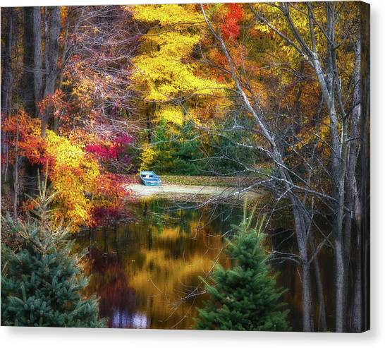 Canoes Canvas Print - Autumn Pond With Rowboat by Tom Mc Nemar