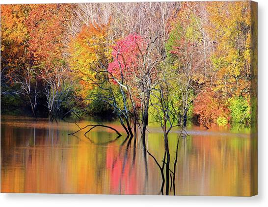 Canvas Print featuring the photograph Autumn Reflections At Alum Creek by Angela Murdock