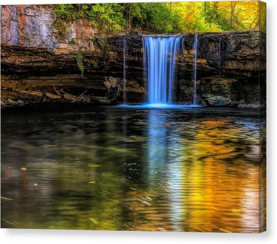 Canvas Print featuring the photograph Autumn Reflections At Ludlow Falls by Dan Sproul