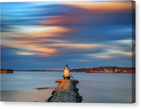 Canvas Print featuring the photograph Autumn Skies At Spring Point Ledge Lighthouse by Rick Berk
