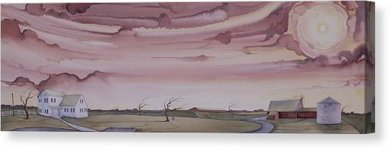 Canvas Print featuring the painting Autumn Skies On The Kirby Farm by Scott Kirby