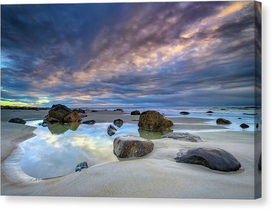 Canvas Print featuring the photograph Autumn Sky At Wells Beach by Rick Berk