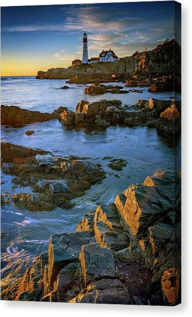 Canvas Print featuring the photograph Autumn Tranquility At Portland Head by Rick Berk