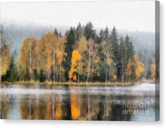 Woodland Canvas Print - Autumn Trees On The Bank Of Lake by Michal Boubin
