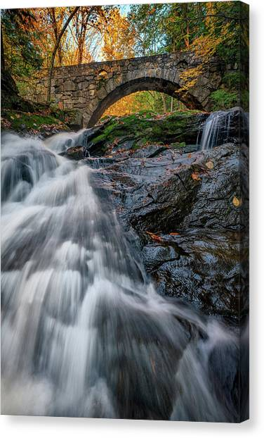 Canvas Print featuring the photograph Autumn Waterfall In Hallowell by Rick Berk