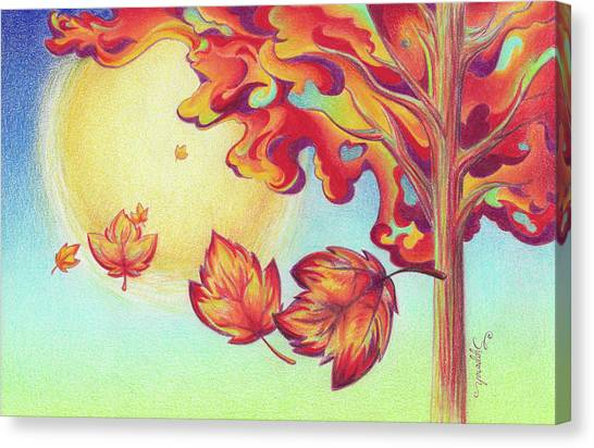 Autumn Wind And Leaves Canvas Print