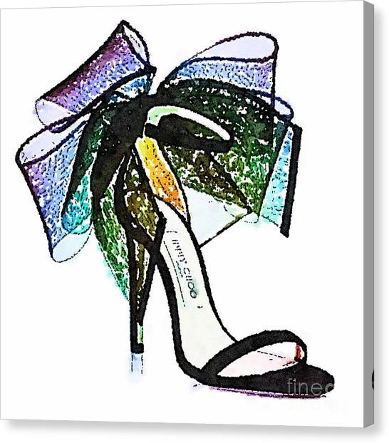 Jimmy Choo Canvas Print - Aveline Bow Sandals Watercolored by Modern Art