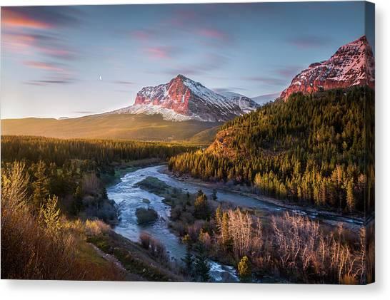 Canvas Print featuring the photograph Awakening // Many Glacier // Glacier National Park  by Nicholas Parker