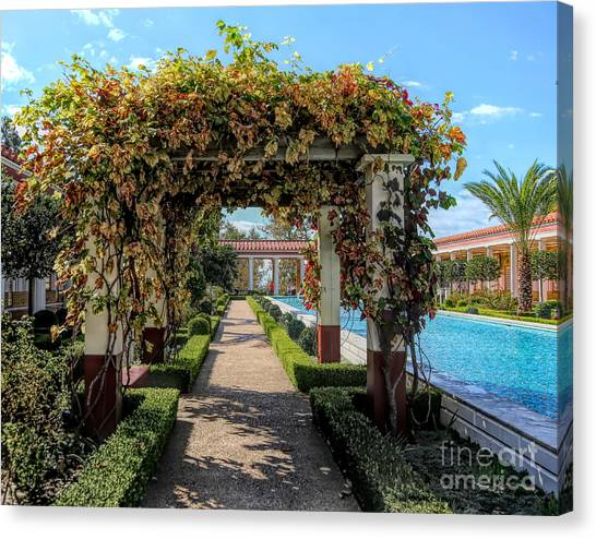 J Paul Getty Canvas Print - Awesome Getty Villa Landscape Walkway Pool California  by Chuck Kuhn