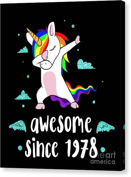 a5c76ecd Dabbing Canvas Print - Awesome Since 1978 Tshirt Cute Unicorn 40th Birthday  Gift by Noirty Designs