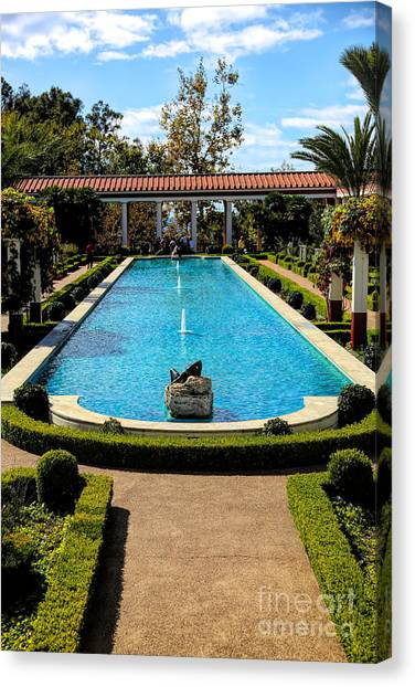 J Paul Getty Canvas Print - Awesome View Getty Villa Pool  by Chuck Kuhn
