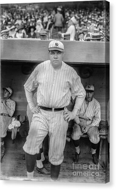 Babe Ruth Canvas Print - Babe Ruth With The Yankees by Jon Neidert