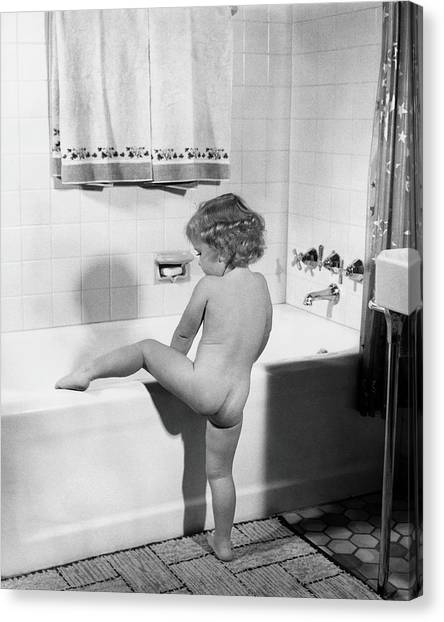 Household Canvas Print - Baby Girl Climbing Into Bath Tub by H. Armstrong Roberts