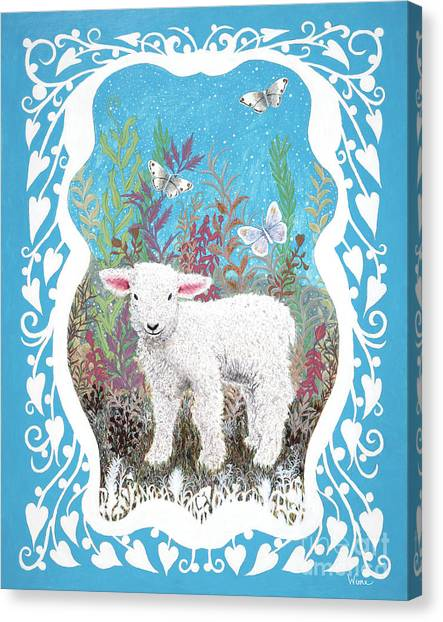 Baby Lamb With White Butterflies Canvas Print