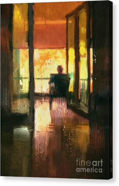 Acrylic Canvas Print - Back View Of A Man Sitting On Chair by Tithi Luadthong