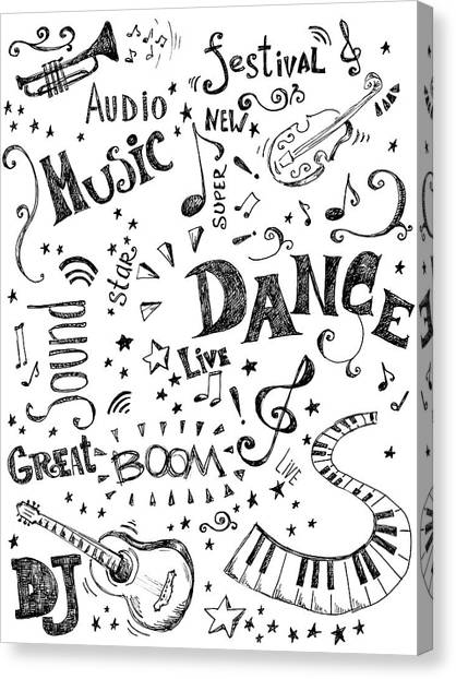 Background Made Up Of Music Doodles Canvas Print by Kalistratova