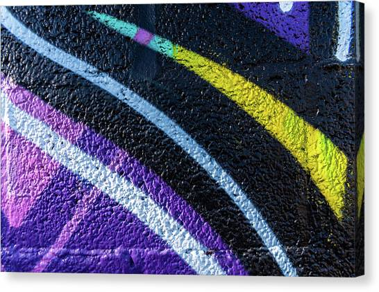Background With Wall Texture Painted With Colorful Lines. Canvas Print