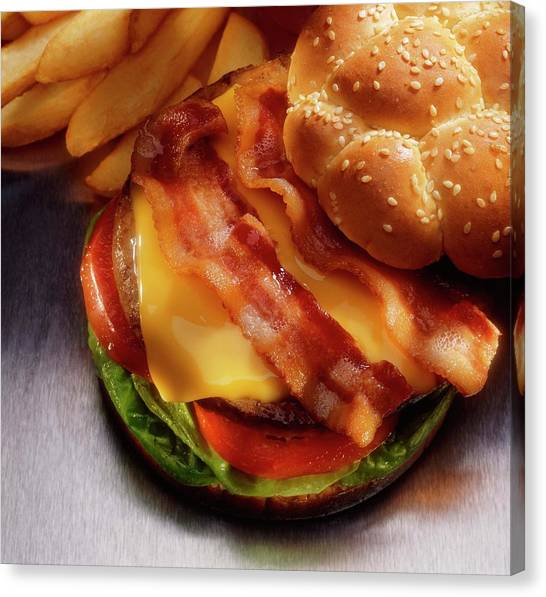 Buns Canvas Print - Bacon Cheeseburger With French Fries by Jupiterimages