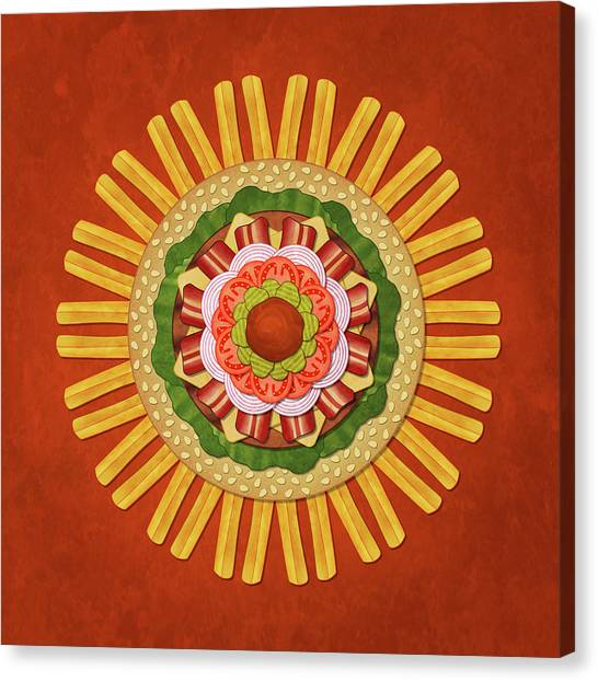 Bacon Cheeseburger With Fries Mandala Canvas Print