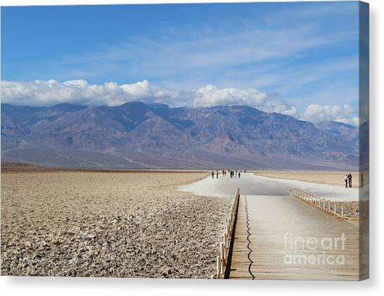 Death Valley Canvas Print - Badwater In Death Valley National Park by Marimarkina