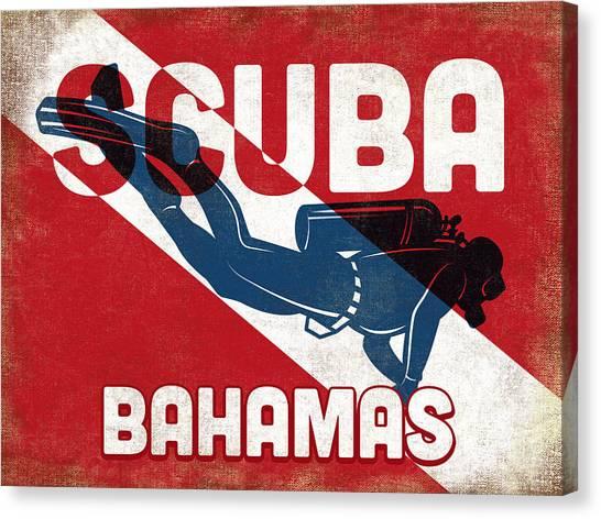 Bahamas Scuba Diver - Blue Retro Canvas Print by Flo Karp
