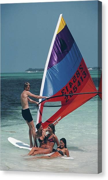 Bahamas Windsurfing Canvas Print by Slim Aarons