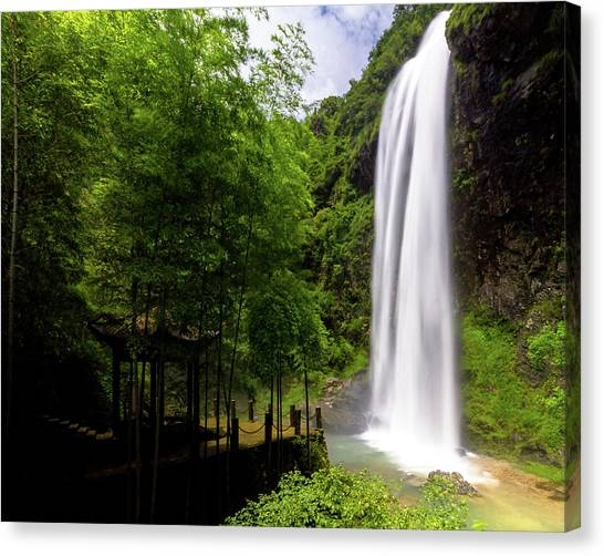Canvas Print featuring the photograph Baiyun Waterfall II by William Dickman