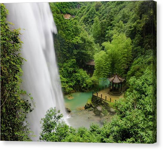 Canvas Print featuring the photograph Baiyun Waterfall by William Dickman