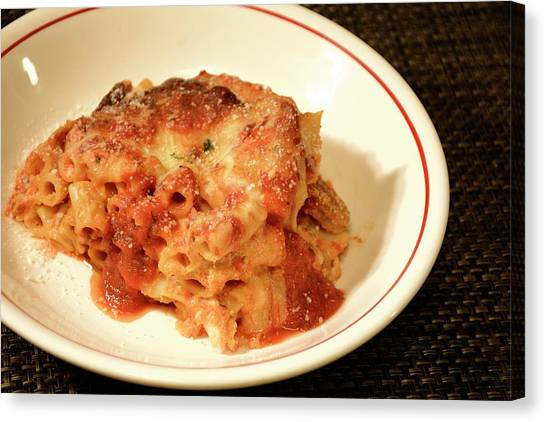 Canvas Print featuring the photograph Baked Ziti Serving 3 by Angie Tirado