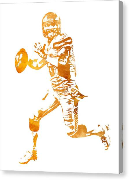 Cleveland Browns Canvas Print - Baker Mayfield Cleveland Brownd Water Color Art 1 by Joe Hamilton