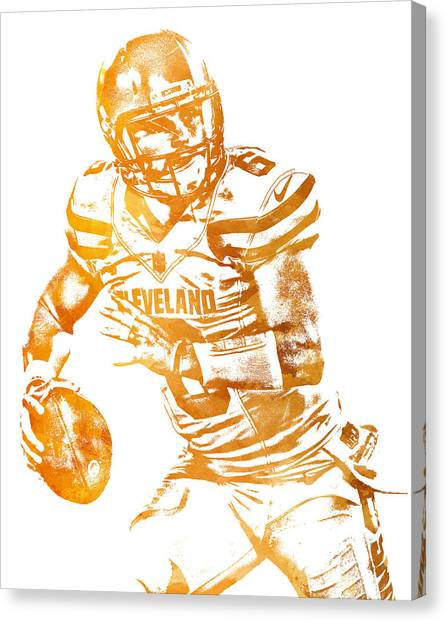 Cleveland Browns Canvas Print - Baker Mayfield Cleveland Brownd Water Color Art 2 by Joe Hamilton