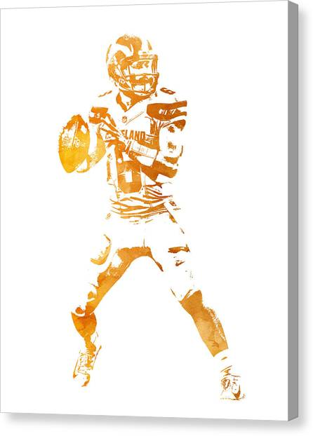 Cleveland Browns Canvas Print - Baker Mayfield Cleveland Brownd Water Color Art 3 by Joe Hamilton