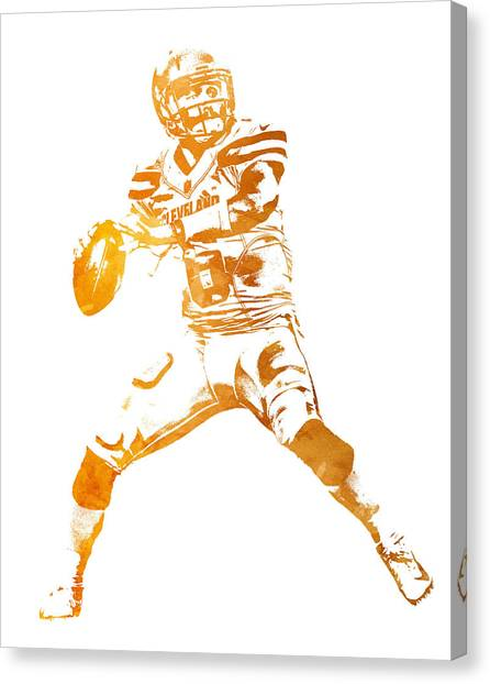 Cleveland Browns Canvas Print - Baker Mayfield Cleveland Brownd Water Color Art 4 by Joe Hamilton