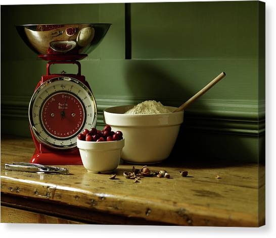 Baking Ingredients Sit On Table Canvas Print