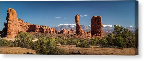 Canvas Print featuring the photograph Balanced Rock And The La Sal Mountain Range by David Morefield