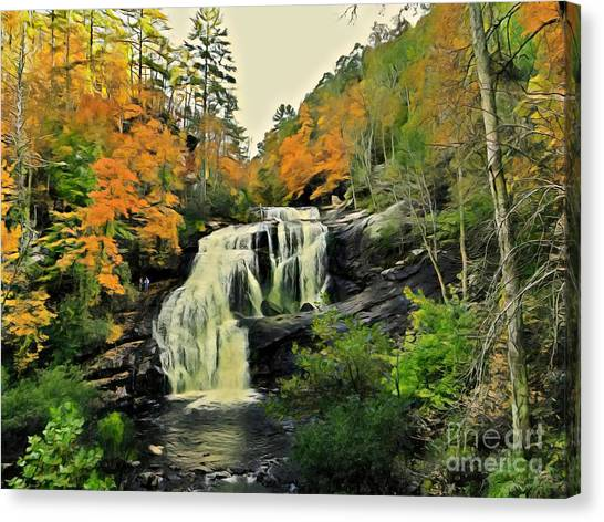 Canvas Print featuring the photograph Bald River Falls In Autumn  by Rachel Hannah