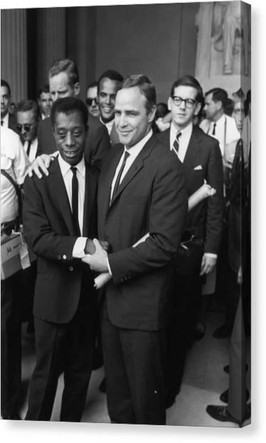 Baldwin & Brando At Lincoln Monument Canvas Print by Fred W. McDarrah