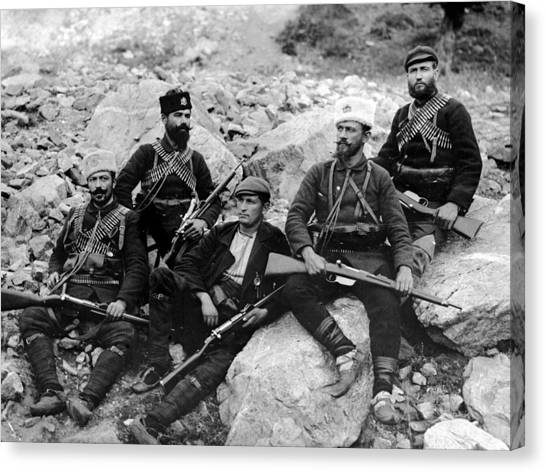 Balkan Soldiers Canvas Print by Topical Press Agency