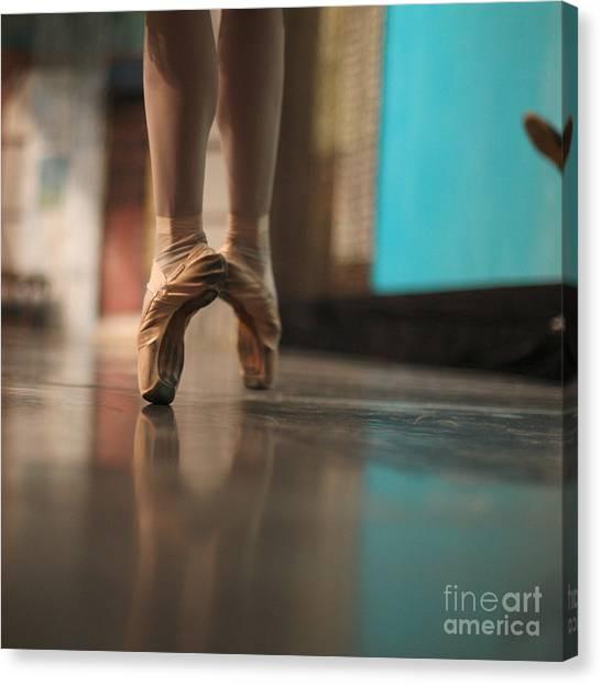 Performing Canvas Print - Ballerina Standing In Ballet Shoes by Anna Jurkovska