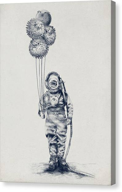 Ink Canvas Print - Balloon Fish Option by Eric Fan