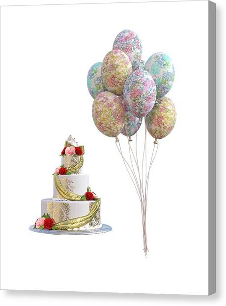 Wedding Gift Canvas Print - Balloons And Cake by Betsy Knapp