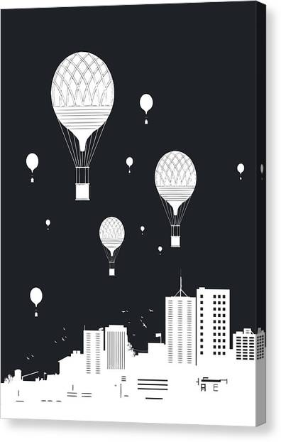 Winter Canvas Print - Balloons And The City by Balazs Solti