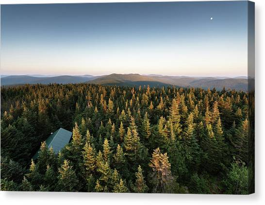 Balsam Lake Mountain Sunset Moon Canvas Print