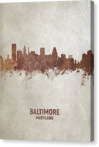 Maryland Canvas Print - Baltimore Maryland Rust Skyline by Michael Tompsett