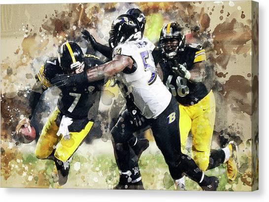 Ben Roethlisberger Canvas Print - Baltimore Ravens Against Pittsburgh Steelers. by Anna J Davis