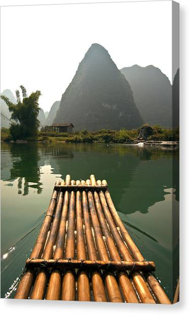 Bamboo Raft And Karst Pinnacle, Yulong Canvas Print