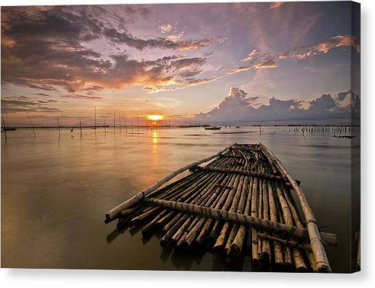 Bamboo Raft Canvas Print