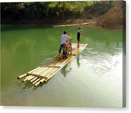 Bamboo Raft To Cross River With Canvas Print